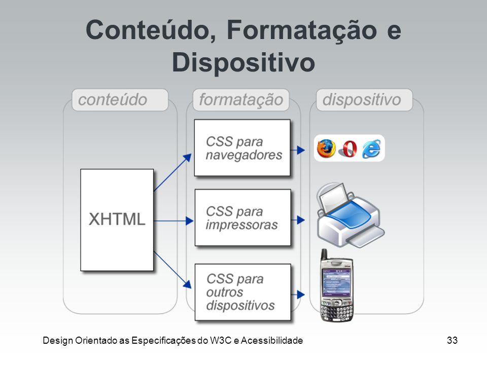 Design Orientado as Especificações do W3C e Acessibilidade33 Conteúdo, Formatação e Dispositivo