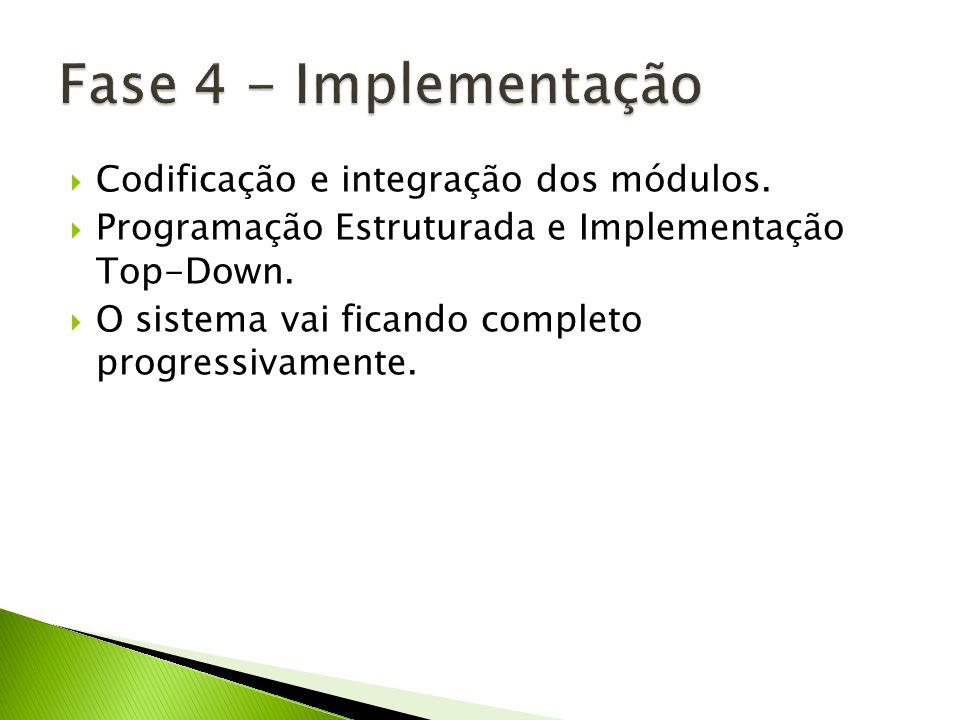 Codificação e integração dos módulos. Programação Estruturada e Implementação Top-Down. O sistema vai ficando completo progressivamente.
