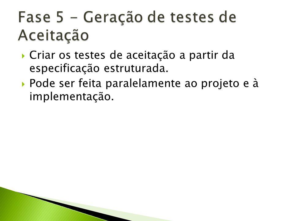 Criar os testes de aceitação a partir da especificação estruturada. Pode ser feita paralelamente ao projeto e à implementação.