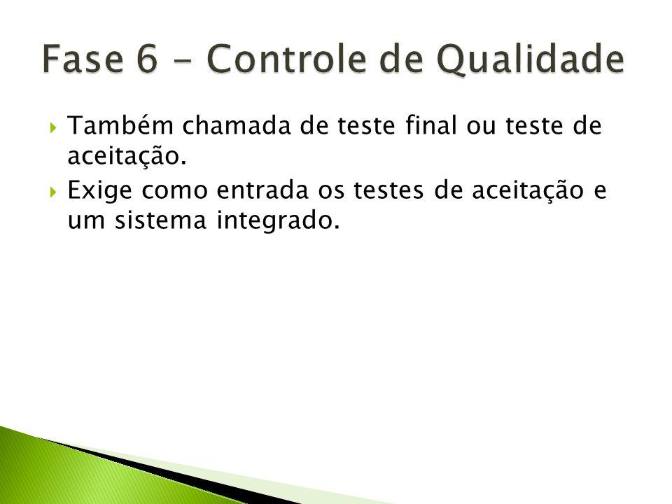 Também chamada de teste final ou teste de aceitação. Exige como entrada os testes de aceitação e um sistema integrado.
