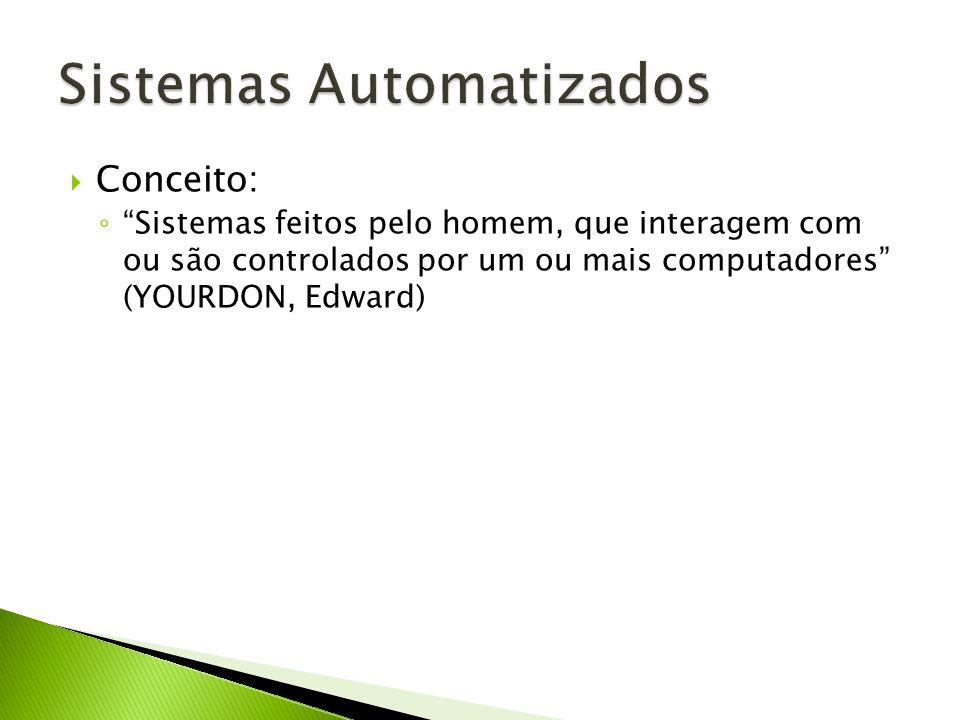 Conceito: Sistemas feitos pelo homem, que interagem com ou são controlados por um ou mais computadores (YOURDON, Edward)