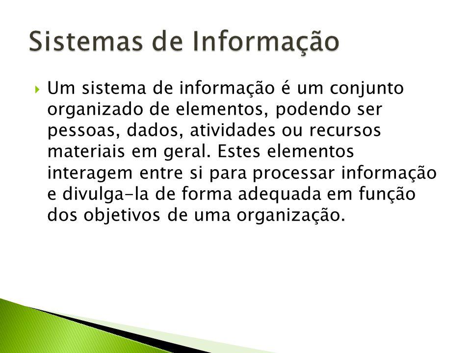 Um sistema de informação é um conjunto organizado de elementos, podendo ser pessoas, dados, atividades ou recursos materiais em geral.