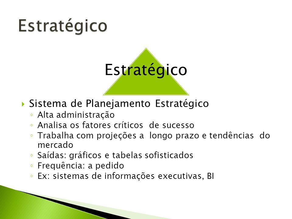 Sistema de Planejamento Estratégico Alta administração Analisa os fatores críticos de sucesso Trabalha com projeções a longo prazo e tendências do mercado Saídas: gráficos e tabelas sofisticados Frequência: a pedido Ex: sistemas de informações executivas, BI Estratégico