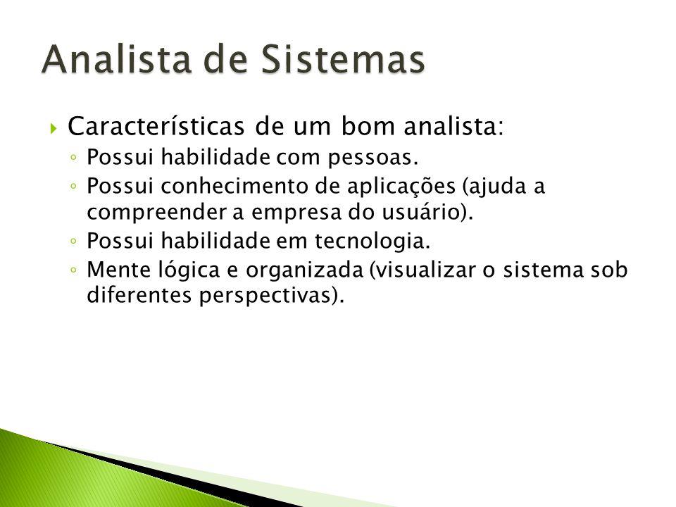 Características de um bom analista: Possui habilidade com pessoas. Possui conhecimento de aplicações (ajuda a compreender a empresa do usuário). Possu