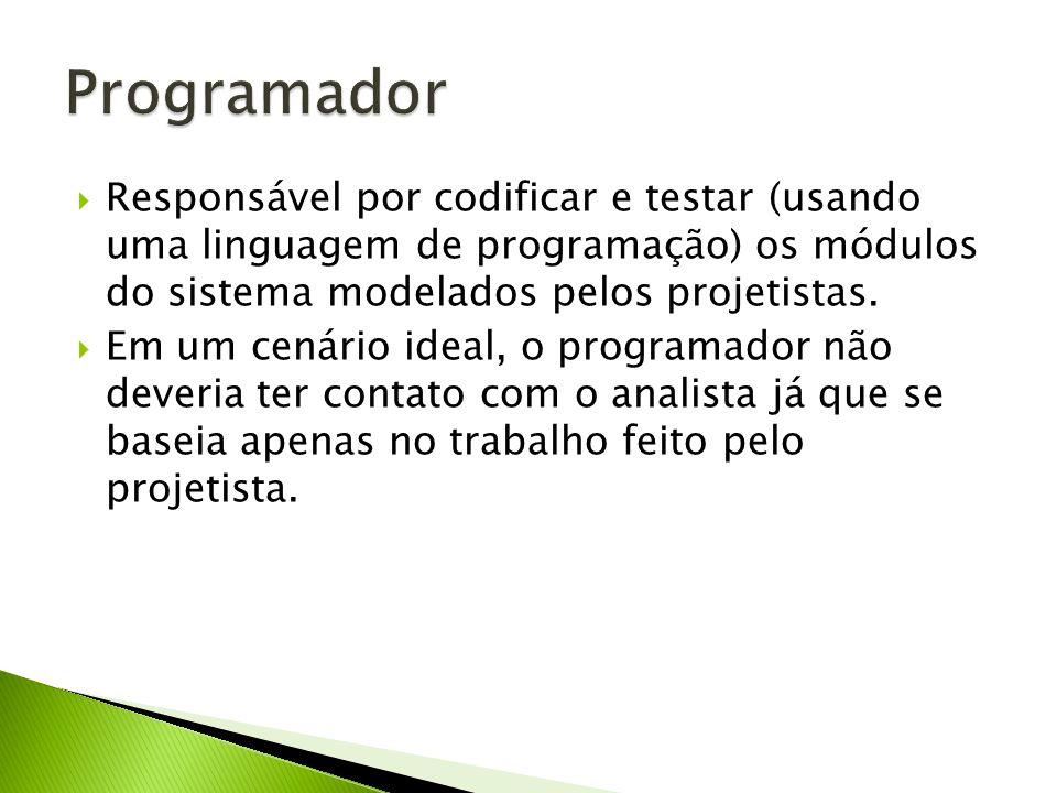 Responsável por codificar e testar (usando uma linguagem de programação) os módulos do sistema modelados pelos projetistas. Em um cenário ideal, o pro