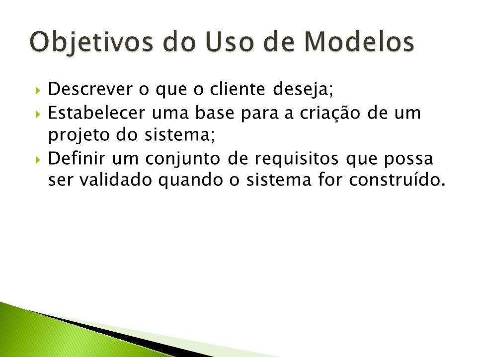 Descrever o que o cliente deseja; Estabelecer uma base para a criação de um projeto do sistema; Definir um conjunto de requisitos que possa ser validado quando o sistema for construído.
