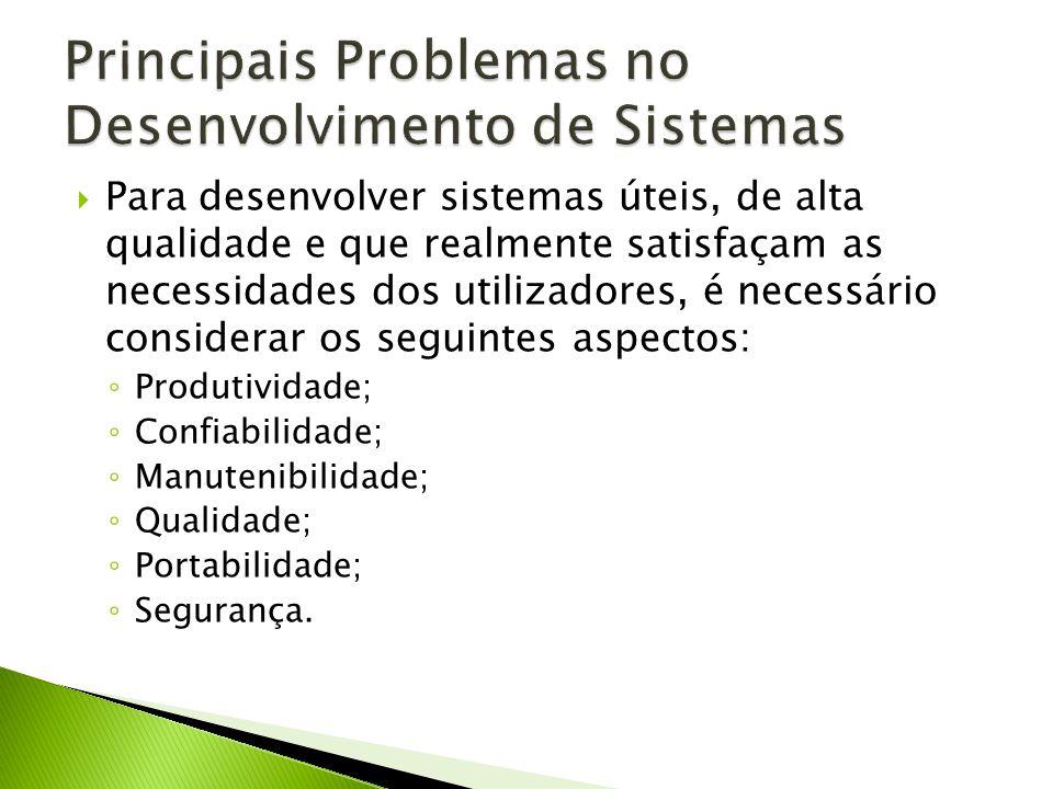 Para desenvolver sistemas úteis, de alta qualidade e que realmente satisfaçam as necessidades dos utilizadores, é necessário considerar os seguintes aspectos: Produtividade; Confiabilidade; Manutenibilidade; Qualidade; Portabilidade; Segurança.