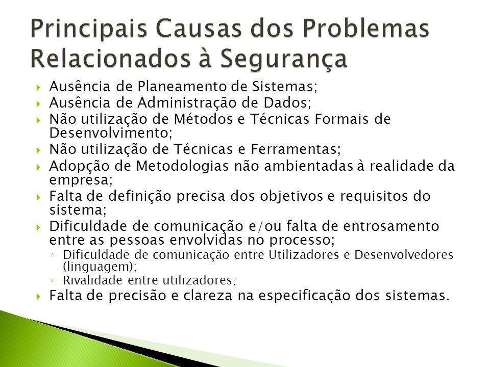 Ausência de Planeamento de Sistemas; Ausência de Administração de Dados; Não utilização de Métodos e Técnicas Formais de Desenvolvimento; Não utilizaç
