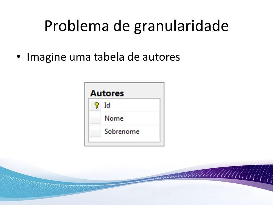 Problema de granularidade Imagine uma tabela de autores
