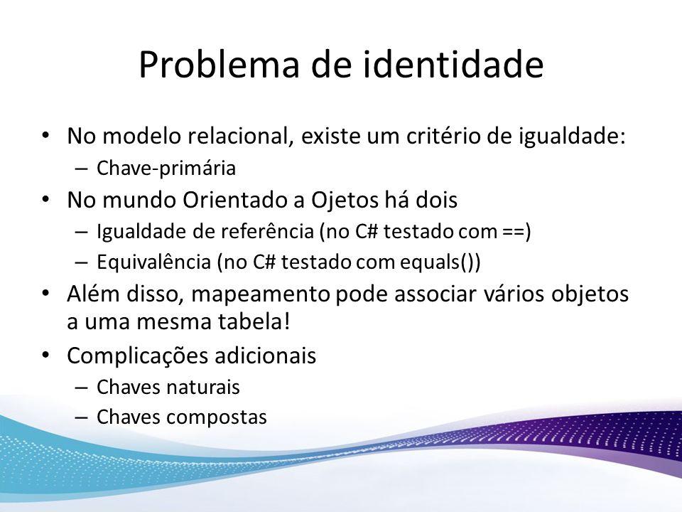 Problema de identidade No modelo relacional, existe um critério de igualdade: – Chave-primária No mundo Orientado a Ojetos há dois – Igualdade de refe