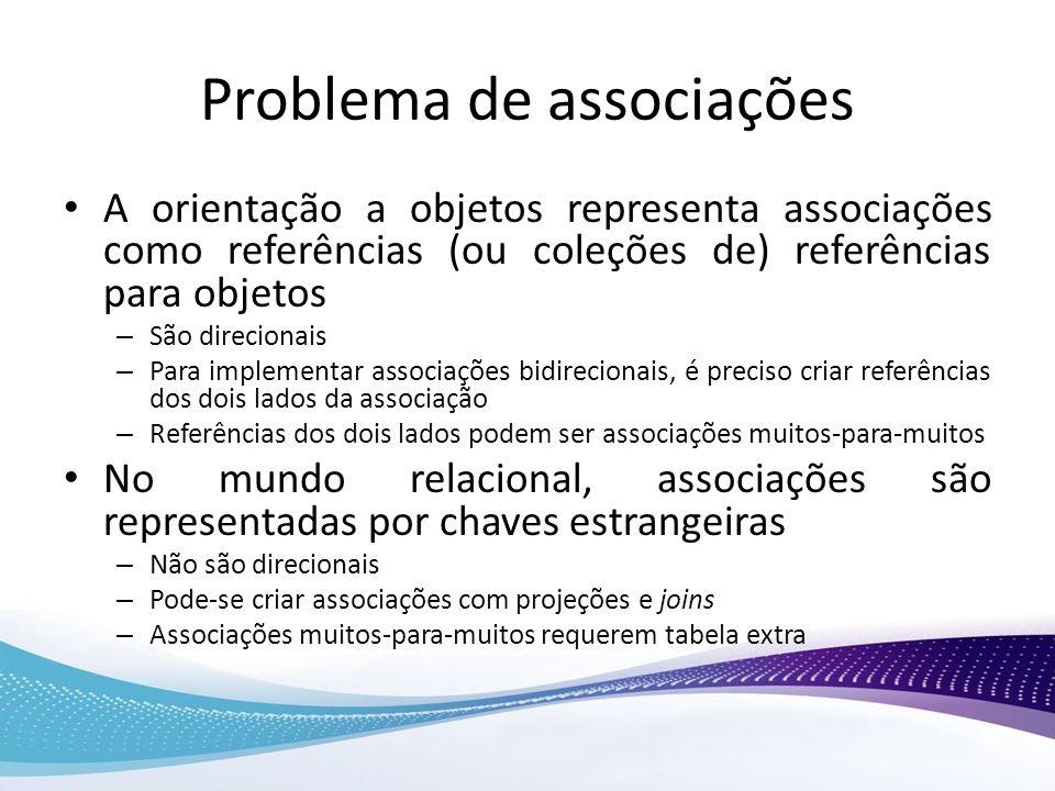 Problema de associações A orientação a objetos representa associações como referências (ou coleções de) referências para objetos – São direcionais – P
