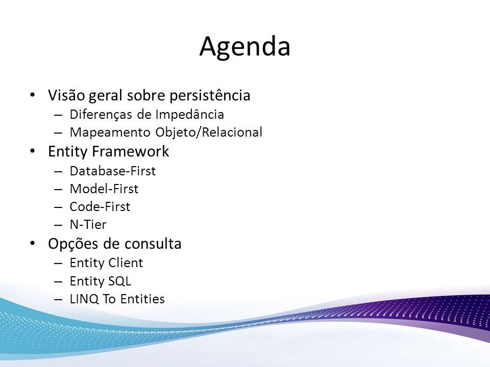 Agenda Visão geral sobre persistência – Diferenças de Impedância – Mapeamento Objeto/Relacional Entity Framework – Database-First – Model-First – Code
