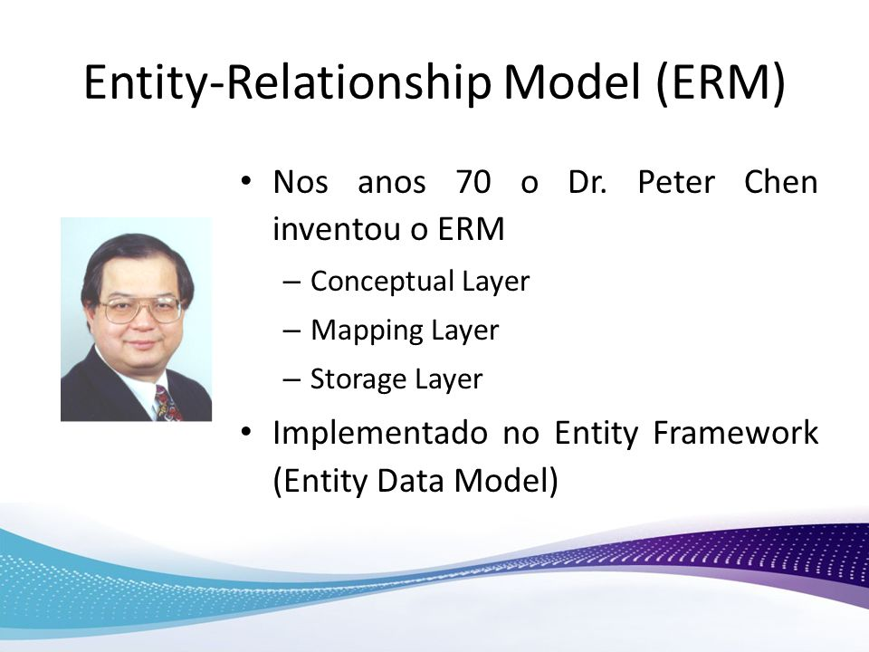 Entity-Relationship Model (ERM) Nos anos 70 o Dr. Peter Chen inventou o ERM – Conceptual Layer – Mapping Layer – Storage Layer Implementado no Entity