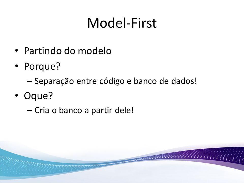 Model-First Partindo do modelo Porque? – Separação entre código e banco de dados! Oque? – Cria o banco a partir dele!