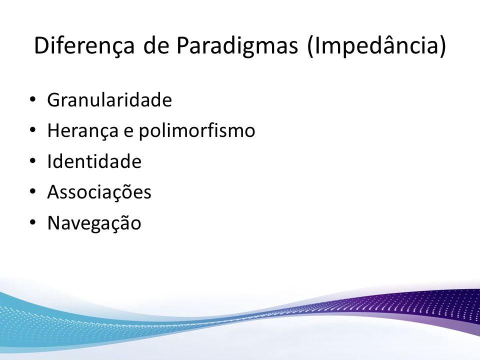 Diferença de Paradigmas (Impedância) Granularidade Herança e polimorfismo Identidade Associações Navegação