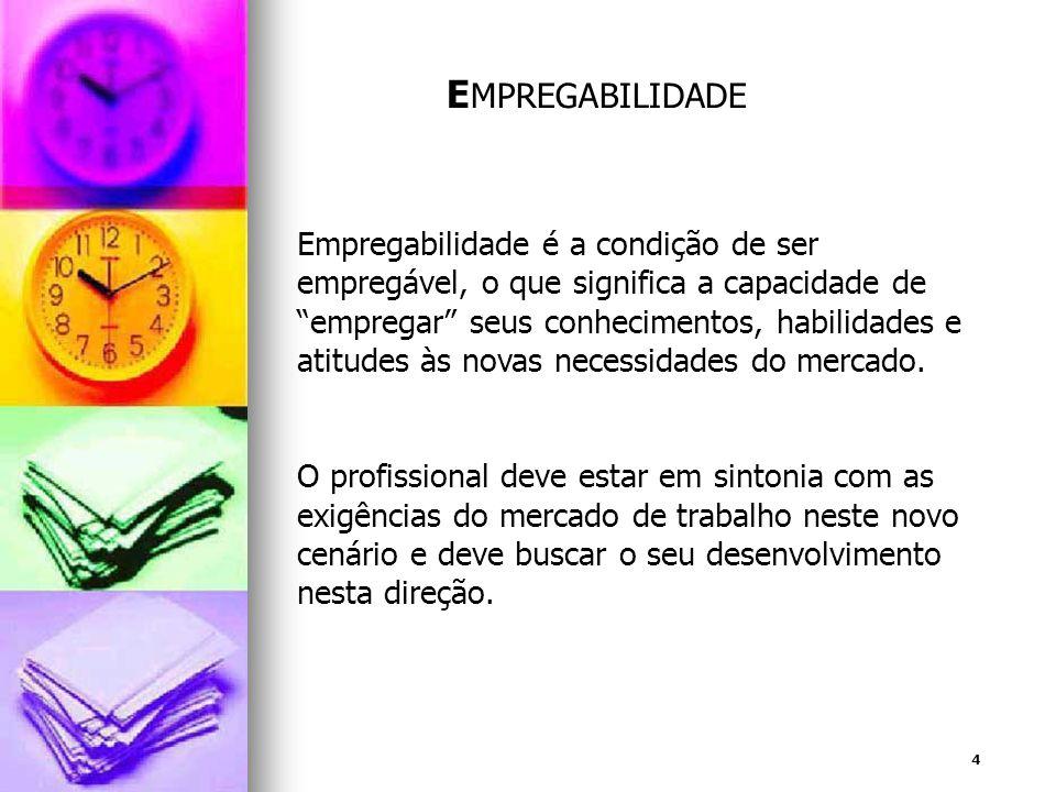 4 E MPREGABILIDADE Empregabilidade é a condição de ser empregável, o que significa a capacidade de empregar seus conhecimentos, habilidades e atitudes