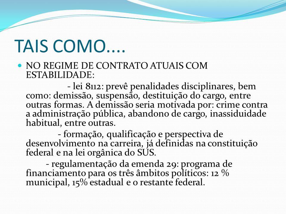TAIS COMO.... NO REGIME DE CONTRATO ATUAIS COM ESTABILIDADE: - lei 8112: prevê penalidades disciplinares, bem como: demissão, suspensão, destituição d