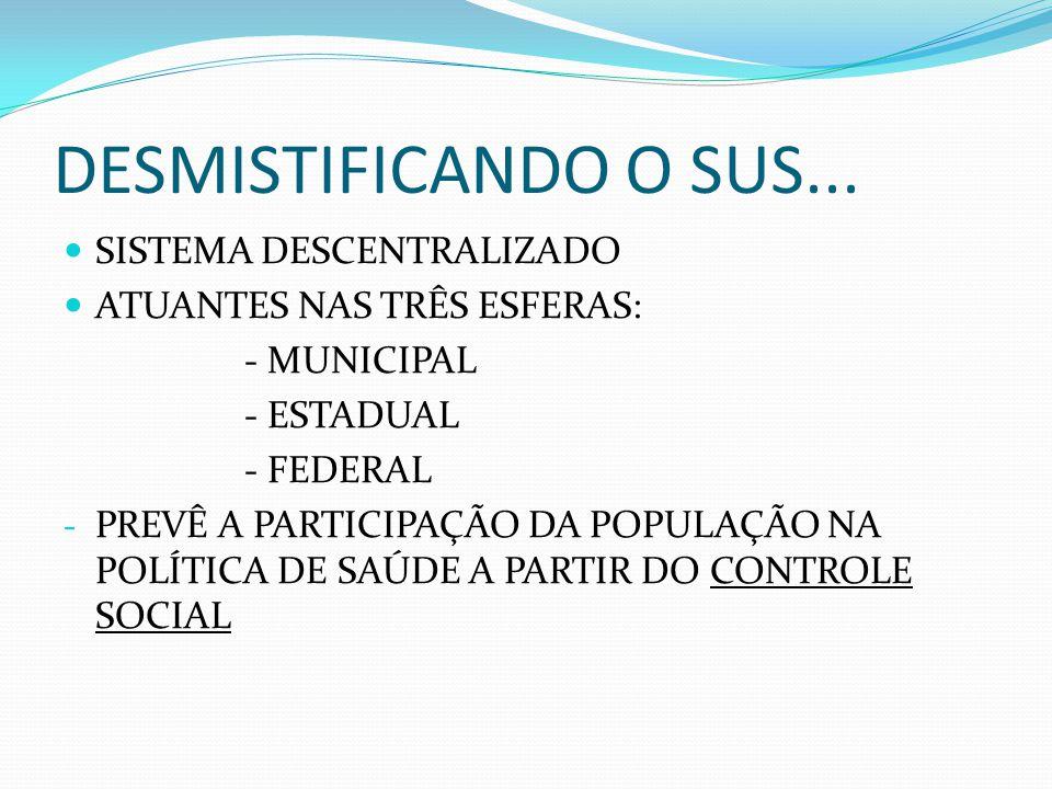 DESMISTIFICANDO O SUS... SISTEMA DESCENTRALIZADO ATUANTES NAS TRÊS ESFERAS: - MUNICIPAL - ESTADUAL - FEDERAL - PREVÊ A PARTICIPAÇÃO DA POPULAÇÃO NA PO