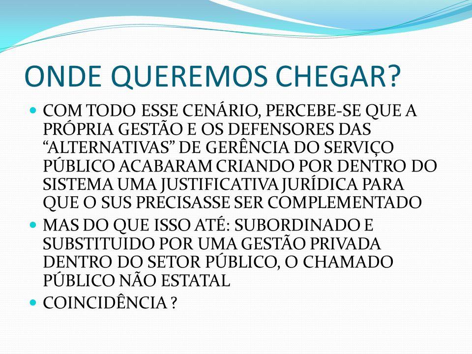 - ORGANIZAÇÕES SOCIAIS (OSS) : IDEALIZADAS NO GOVERNO FHC (PSDB) EM 1998 - são pessoas jurídicas privadas sem fins lucrativos destinadas a serem parceiras do Estado na condução da coisa pública.