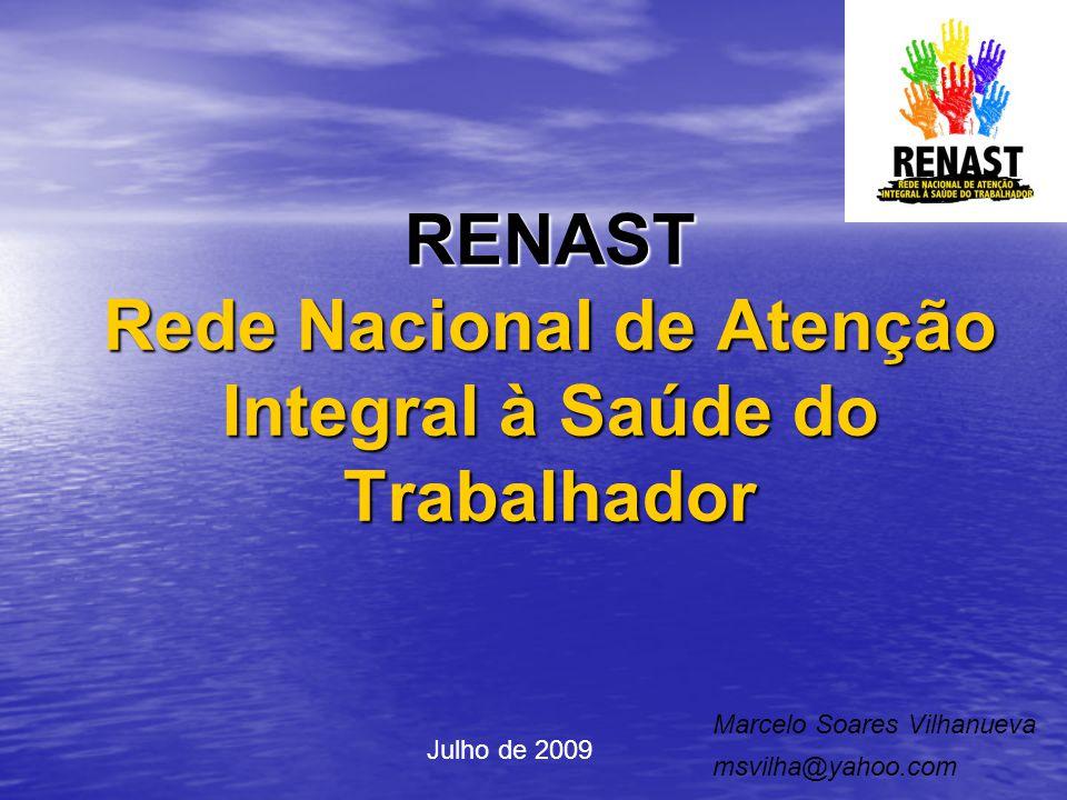 RENAST Rede Nacional de Atenção Integral à Saúde do Trabalhador Marcelo Soares Vilhanueva msvilha@yahoo.com Julho de 2009