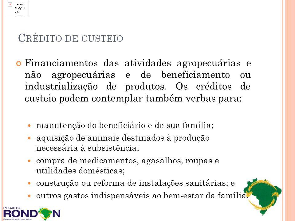 C RÉDITO DE CUSTEIO Financiamentos das atividades agropecuárias e não agropecuárias e de beneficiamento ou industrialização de produtos. Os créditos d