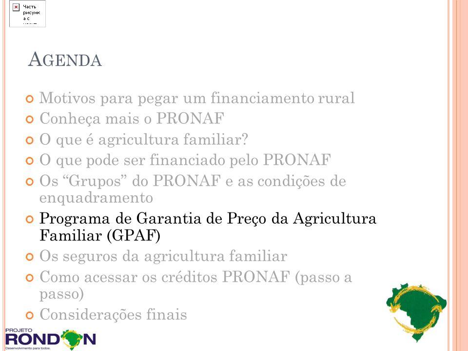 A GENDA Motivos para pegar um financiamento rural Conheça mais o PRONAF O que é agricultura familiar? O que pode ser financiado pelo PRONAF Os Grupos