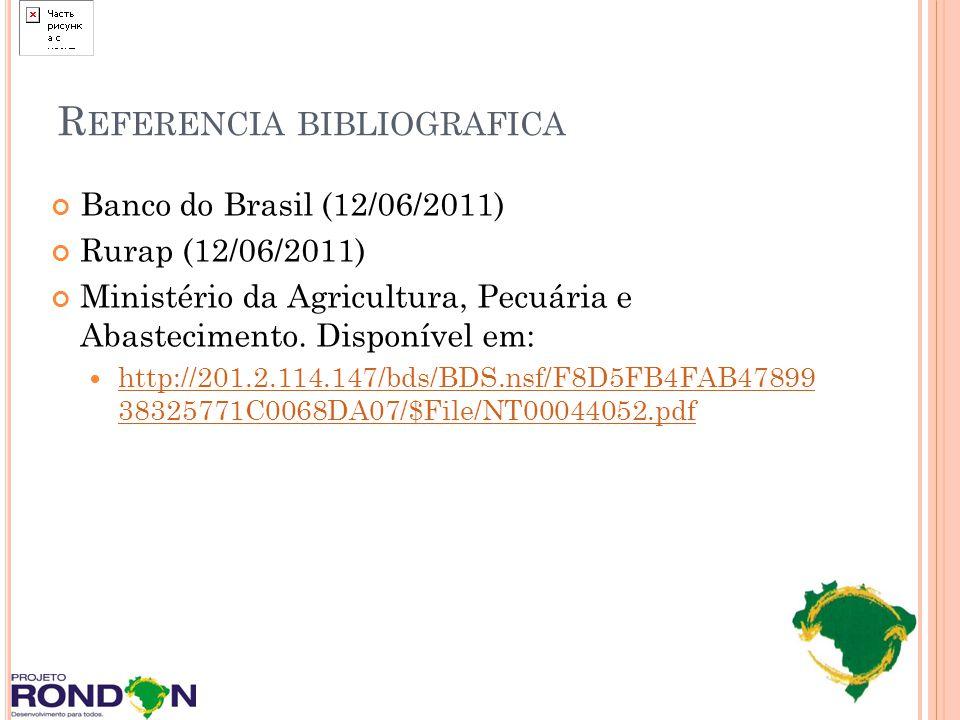 R EFERENCIA BIBLIOGRAFICA Banco do Brasil (12/06/2011) Rurap (12/06/2011) Ministério da Agricultura, Pecuária e Abastecimento. Disponível em: http://2