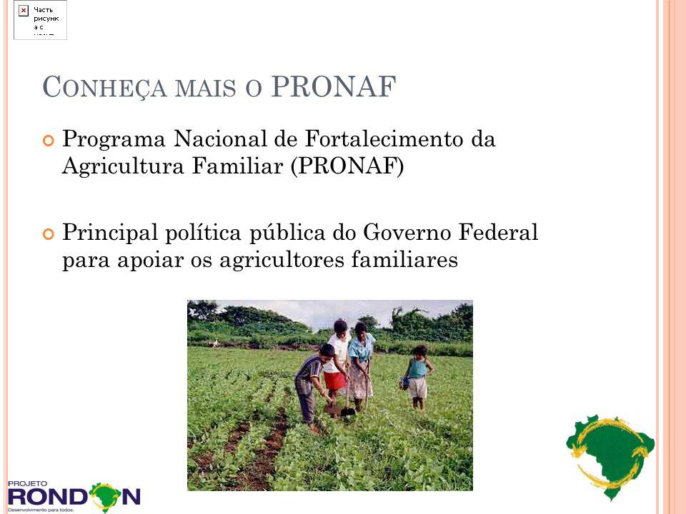 C ONHEÇA MAIS O PRONAF Programa Nacional de Fortalecimento da Agricultura Familiar (PRONAF) Principal política pública do Governo Federal para apoiar