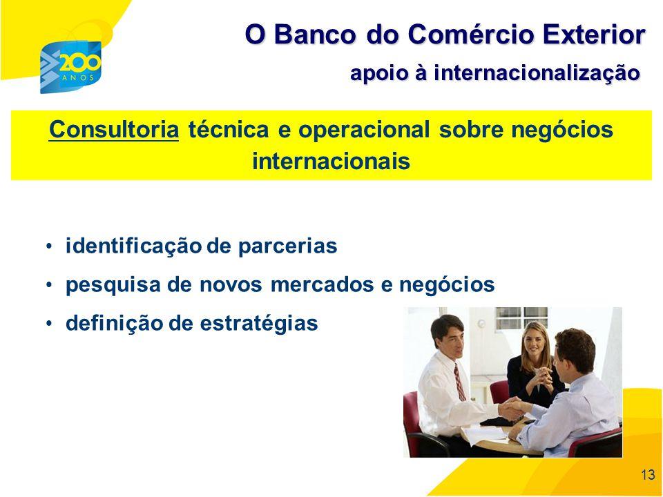 13 Consultoria técnica e operacional sobre negócios internacionais identificação de parcerias pesquisa de novos mercados e negócios definição de estra