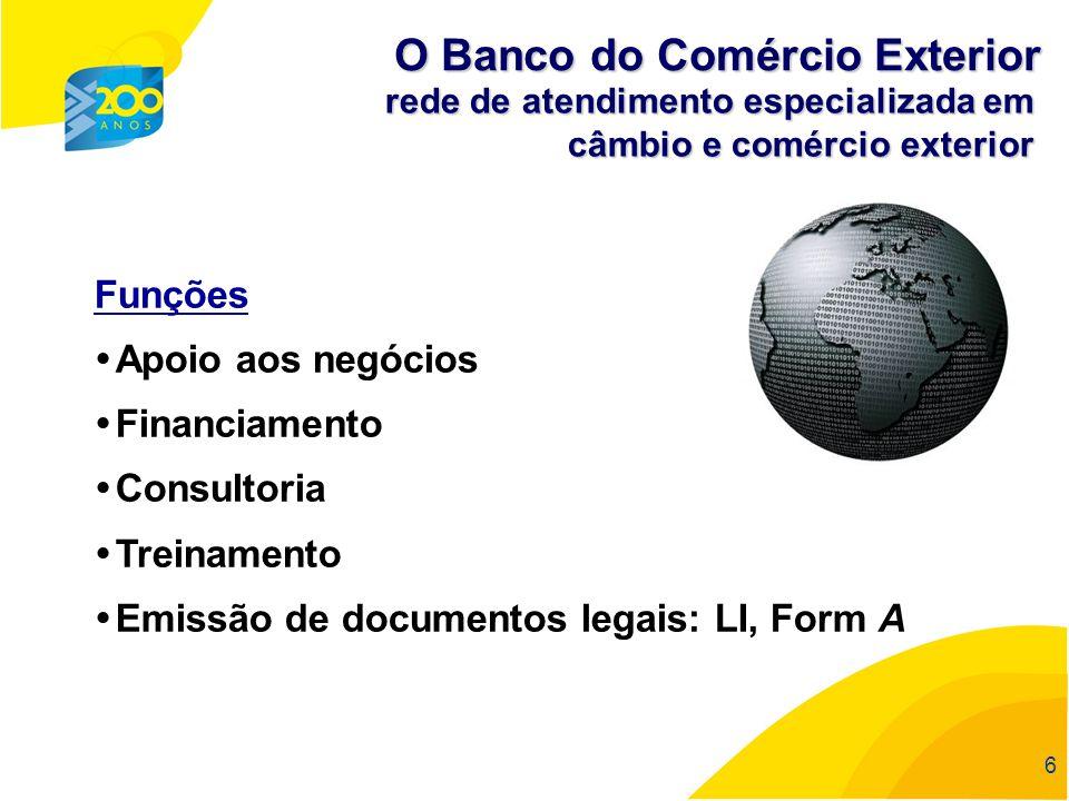 66 6 rede de atendimento especializada em câmbio e comércio exterior Funções Apoio aos negócios Financiamento Consultoria Treinamento Emissão de docum