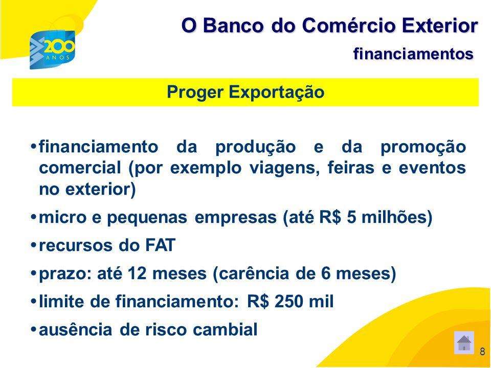 88 8 financiamento da produção e da promoção comercial (por exemplo viagens, feiras e eventos no exterior) micro e pequenas empresas (até R$ 5 milhões