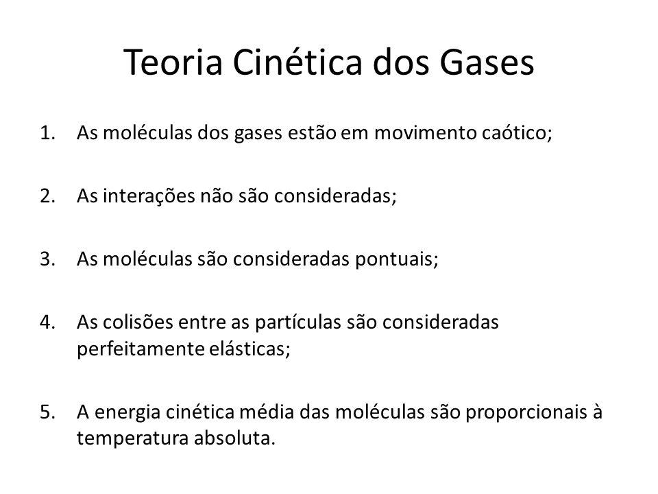 Teoria Cinética dos Gases 1.As moléculas dos gases estão em movimento caótico; 2.As interações não são consideradas; 3.As moléculas são consideradas p