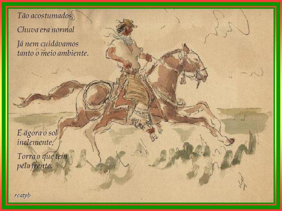 O guapo pampa agoniza. O boi já não muge O cavalo não relincha Nem os sapos coaxam mais.