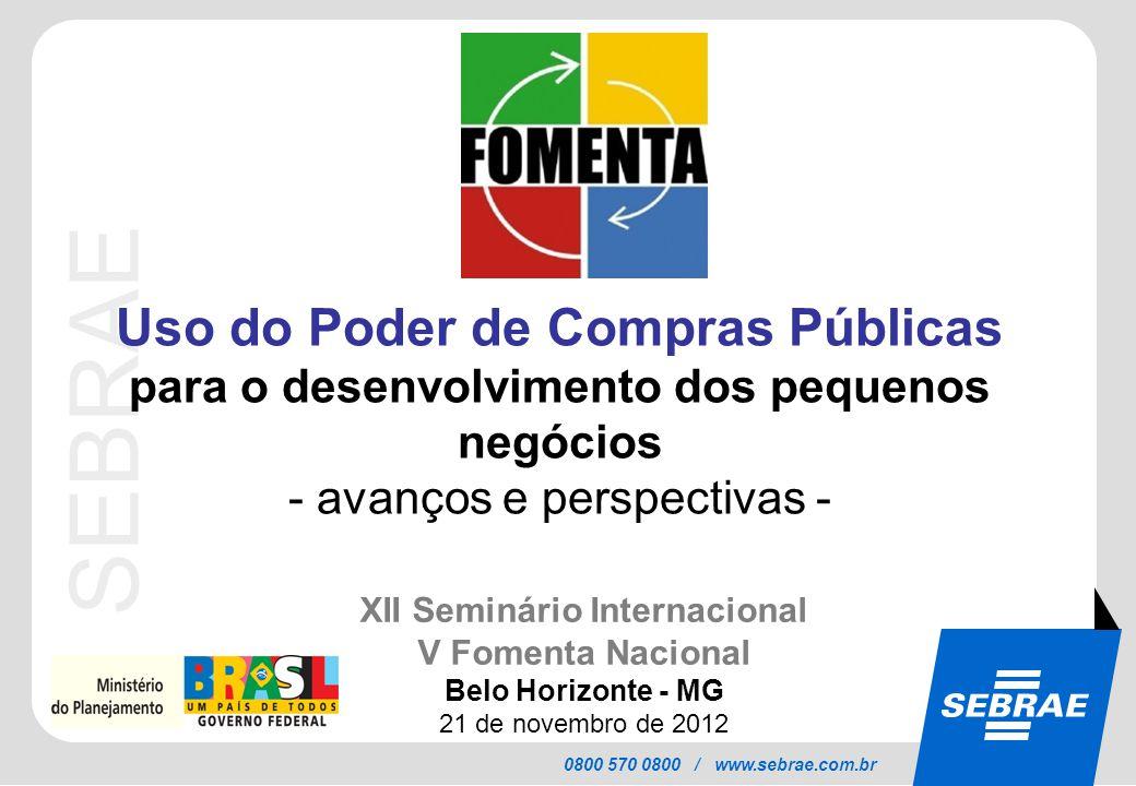 SEBRAE 0800 570 0800 / www.sebrae.com.br Uso do Poder de Compras Públicas para o desenvolvimento dos pequenos negócios - avanços e perspectivas - XII