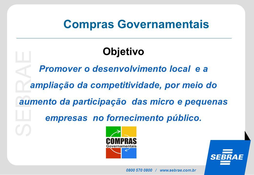 SEBRAE 0800 570 0800 / www.sebrae.com.br Objetivo Promover o desenvolvimento local e a ampliação da competitividade, por meio do aumento da participaç