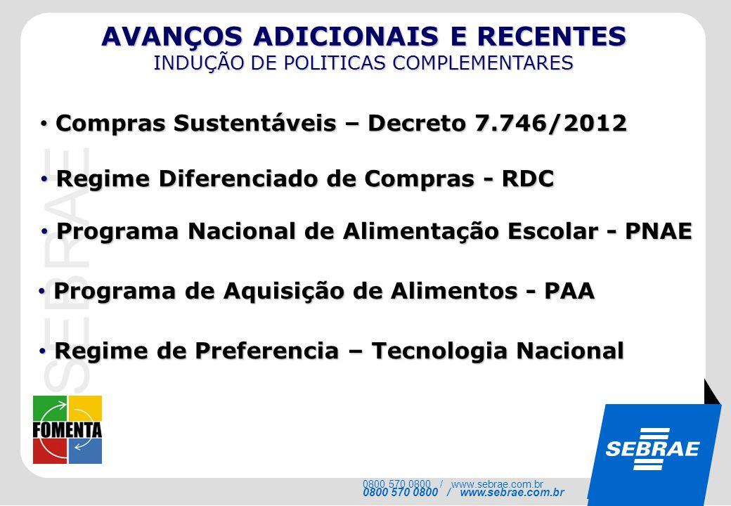 SEBRAE 0800 570 0800 / www.sebrae.com.br Compras Sustentáveis – Decreto 7.746/2012 Compras Sustentáveis – Decreto 7.746/2012 Regime Diferenciado de Co