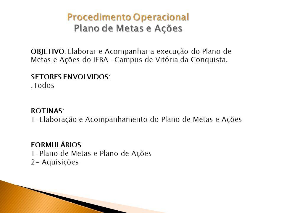 OBJETIVO: Elaborar e Acompanhar a execução do Plano de Metas e Ações do IFBA- Campus de Vitória da Conquista.