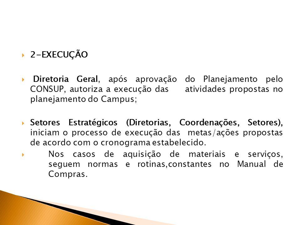 2-EXECUÇÃO Diretoria Geral, após aprovação do Planejamento pelo CONSUP, autoriza a execução das atividades propostas no planejamento do Campus; Setores Estratégicos (Diretorias, Coordenações, Setores), iniciam o processo de execução das metas/ações propostas de acordo com o cronograma estabelecido.
