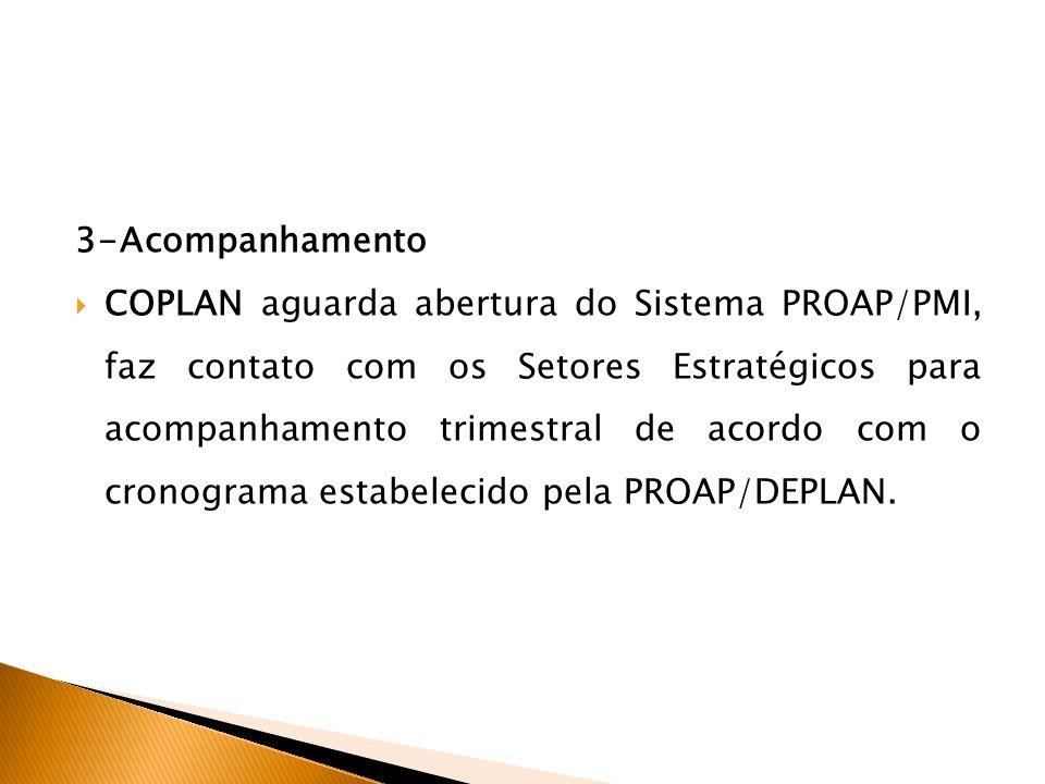 3-Acompanhamento COPLAN aguarda abertura do Sistema PROAP/PMI, faz contato com os Setores Estratégicos para acompanhamento trimestral de acordo com o cronograma estabelecido pela PROAP/DEPLAN.