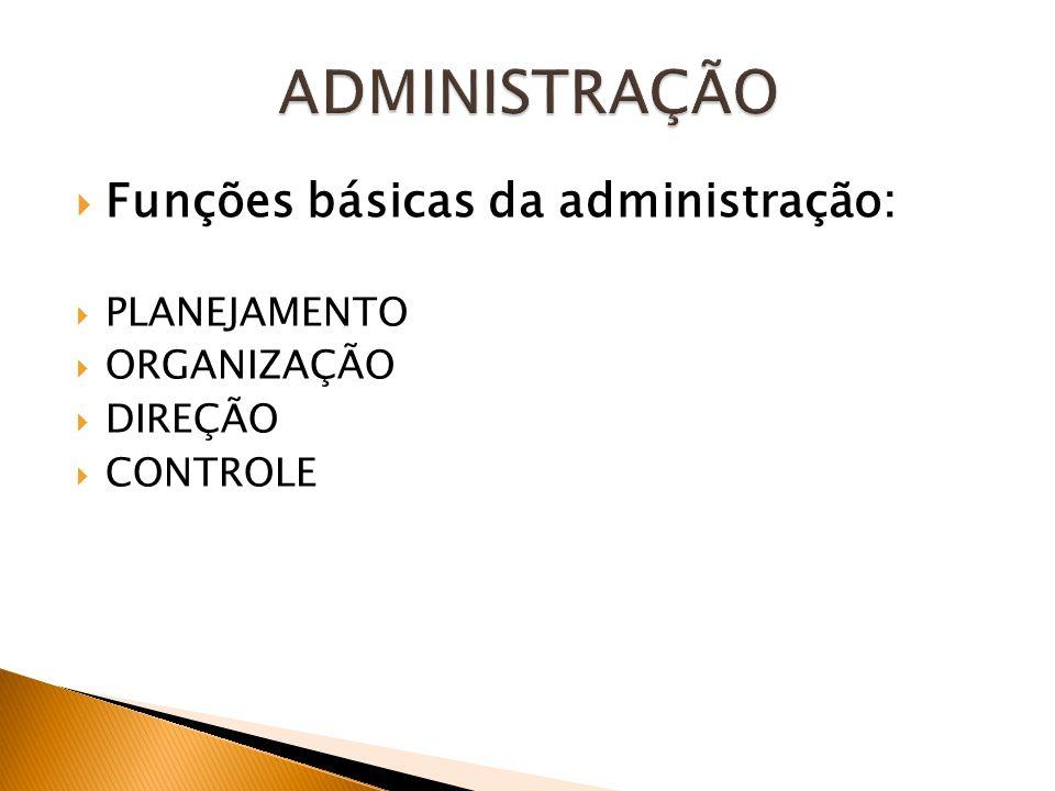 Funções básicas da administração: PLANEJAMENTO ORGANIZAÇÃO DIREÇÃO CONTROLE