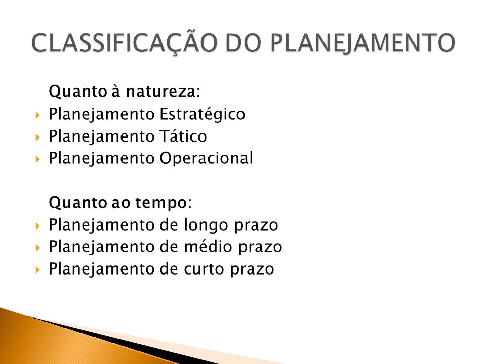 Quanto à natureza: Planejamento Estratégico Planejamento Tático Planejamento Operacional Quanto ao tempo: Planejamento de longo prazo Planejamento de médio prazo Planejamento de curto prazo