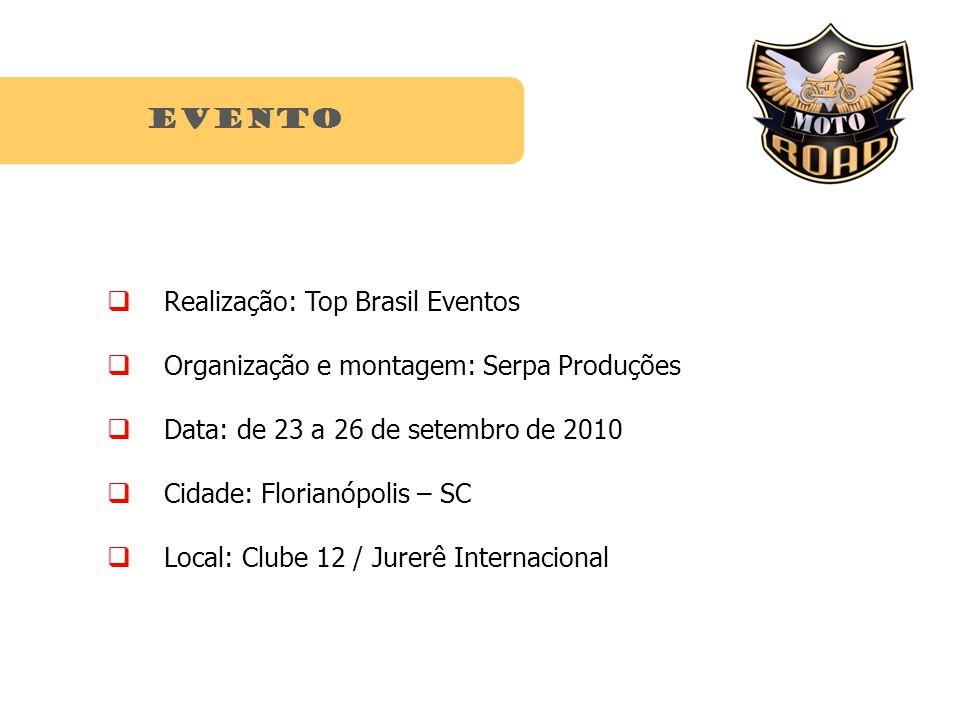 Realização: Top Brasil Eventos Organização e montagem: Serpa Produções Data: de 23 a 26 de setembro de 2010 Cidade: Florianópolis – SC Local: Clube 12 / Jurerê Internacional EVENTO