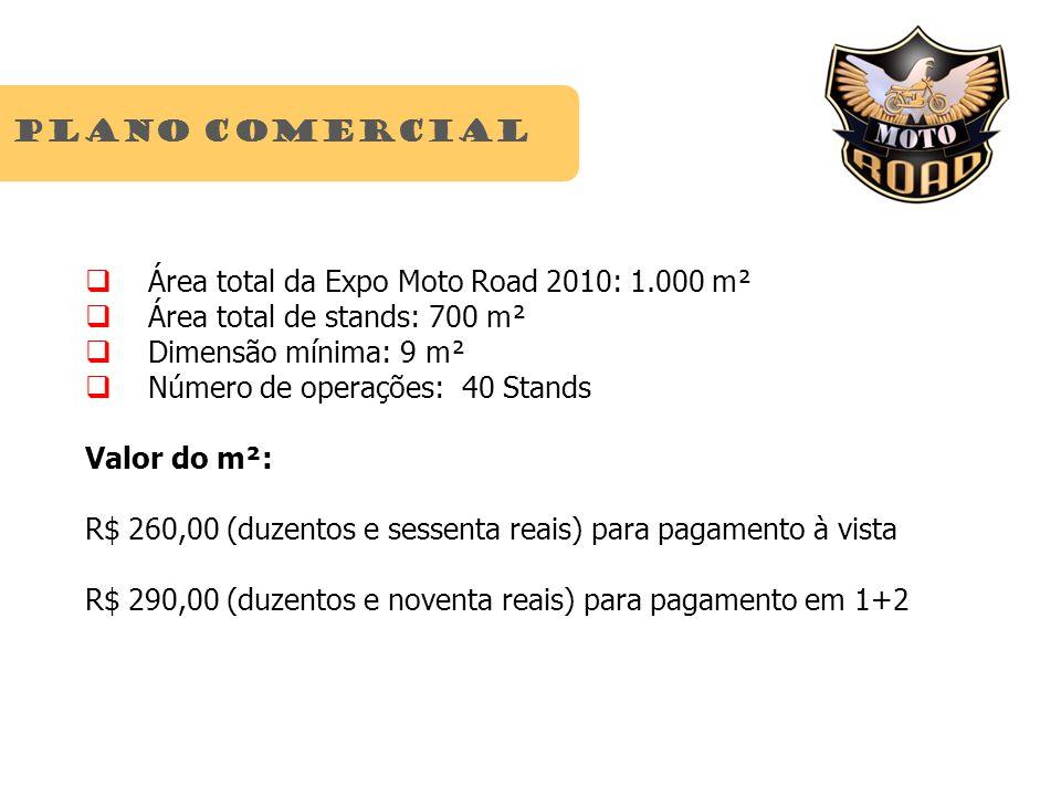 Plano comercial Área total da Expo Moto Road 2010: 1.000 m² Área total de stands: 700 m² Dimensão mínima: 9 m² Número de operações: 40 Stands Valor do m²: R$ 260,00 (duzentos e sessenta reais) para pagamento à vista R$ 290,00 (duzentos e noventa reais) para pagamento em 1+2