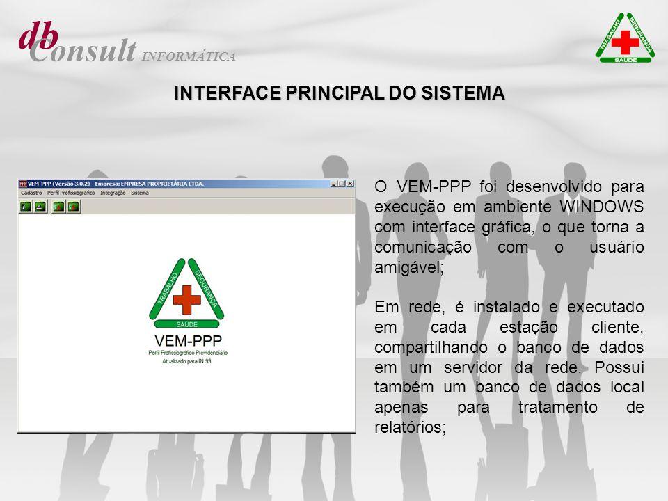 db Consult INTERFACE PRINCIPAL DO SISTEMA O VEM-PPP foi desenvolvido para execução em ambiente WINDOWS com interface gráfica, o que torna a comunicaçã