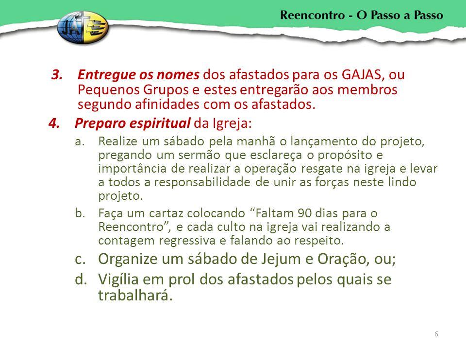 3.Entregue os nomes dos afastados para os GAJAS, ou Pequenos Grupos e estes entregarão aos membros segundo afinidades com os afastados. 4.Preparo espi