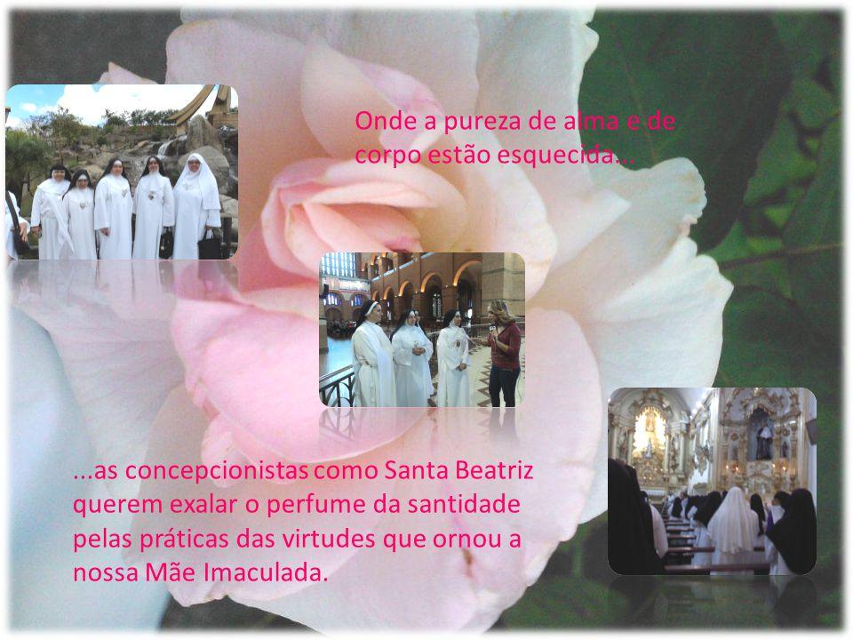 ...as concepcionistas como Santa Beatriz querem exalar o perfume da santidade pelas práticas das virtudes que ornou a nossa Mãe Imaculada.
