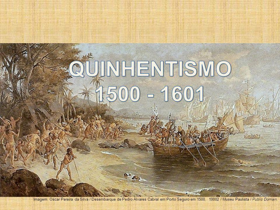 Imagem: Oscar Pereira da Silva / Desembarque de Pedro Álvares Cabral em Porto Seguro em 1500, 19002 / Museu Paulista / Public Domain.