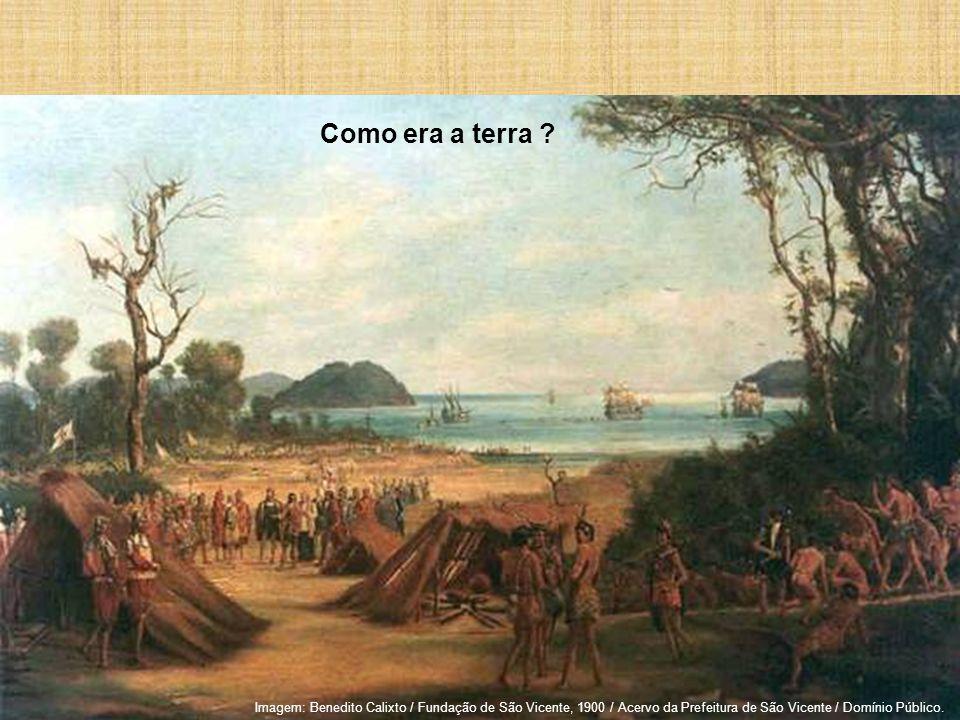 Como era a terra ? Imagem: Benedito Calixto / Fundação de São Vicente, 1900 / Acervo da Prefeitura de São Vicente / Domínio Público.