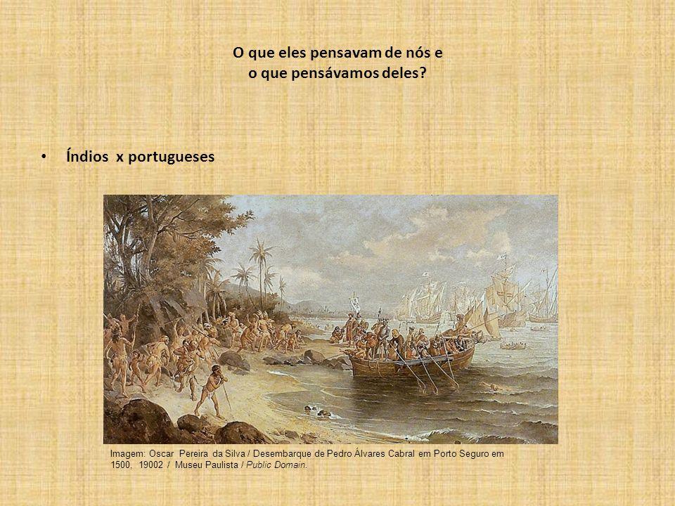 O que eles pensavam de nós e o que pensávamos deles? Índios x portugueses Imagem: Oscar Pereira da Silva / Desembarque de Pedro Álvares Cabral em Port