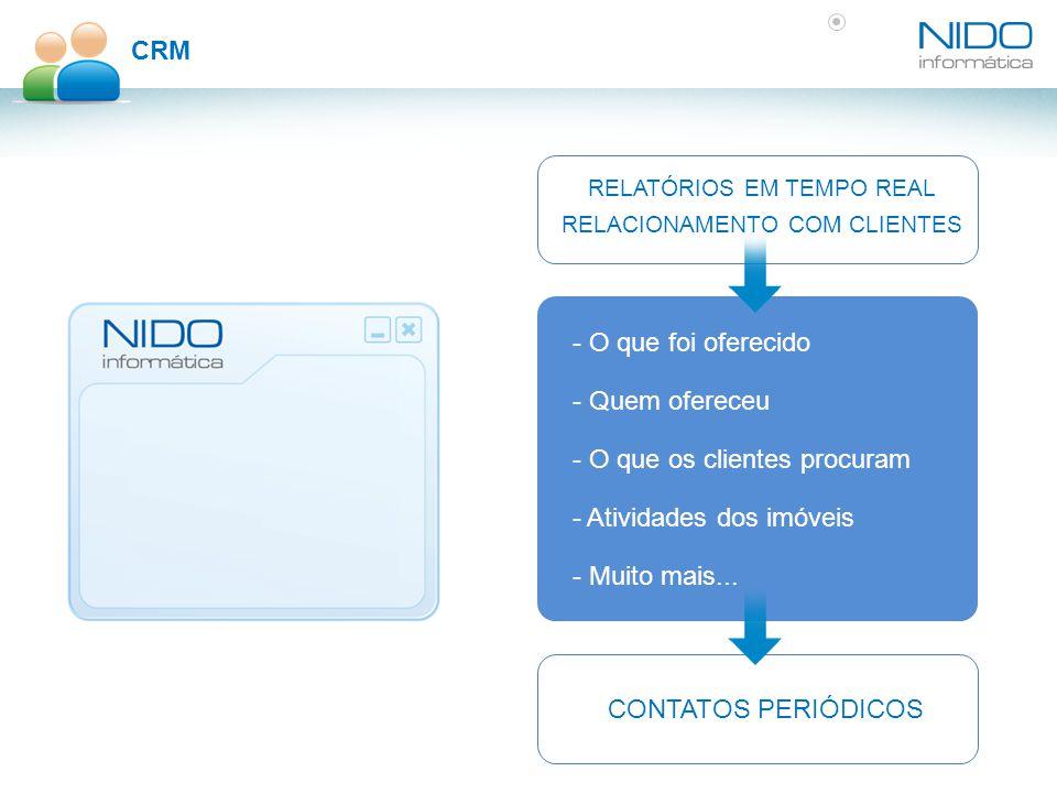 CRM - O que foi oferecido RELATÓRIOS EM TEMPO REAL RELACIONAMENTO COM CLIENTES - Quem ofereceu - O que os clientes procuram - Atividades dos imóveis - Muito mais...